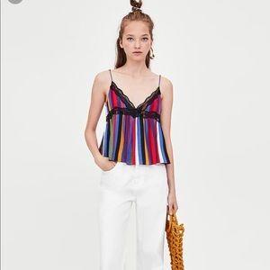NWOT Zara Multicolored Striped Camisole Top